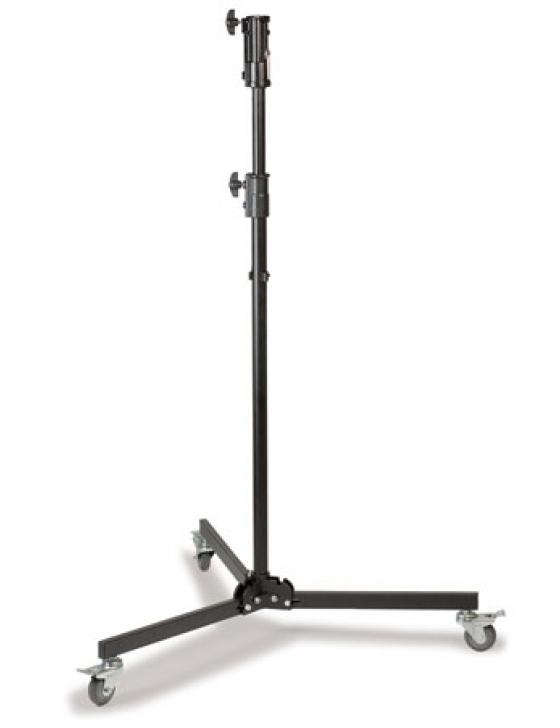 Studio-Stativ mit Rollen, von 1,31 m bis 2,17 m einstellbar. Belastbarkeit max. 25 kg.